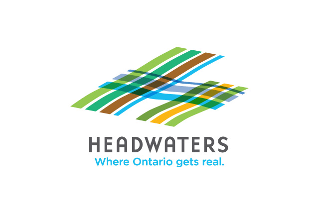 Logo design for Headwaters Tourism in Ontario, Canada features a geometric design that pays a nod to the rolling hills, farmland and rural landscape of the region. Simple but effective brand identity.