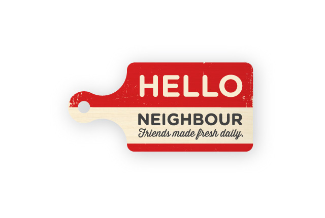 Hello Neighbour logo. An eatery where people can come to converse with others, A friendly logo, outlining a cutting board and with inviting type.
