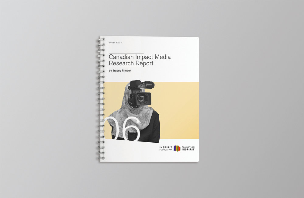 Cover for Inspirit Campaign. Canadian Impact Media Research Report shows collage art of a Muslim woman with a documentary camera as her face.