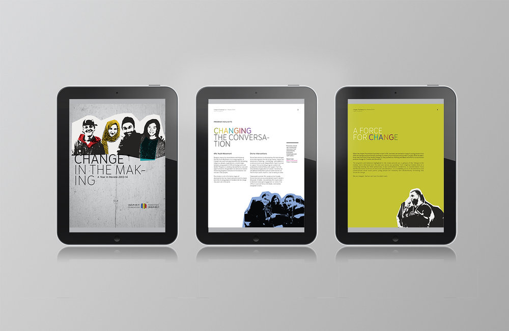 Digital annual report for the Inspirit Foundation features collage art spread across Ipad tablets.