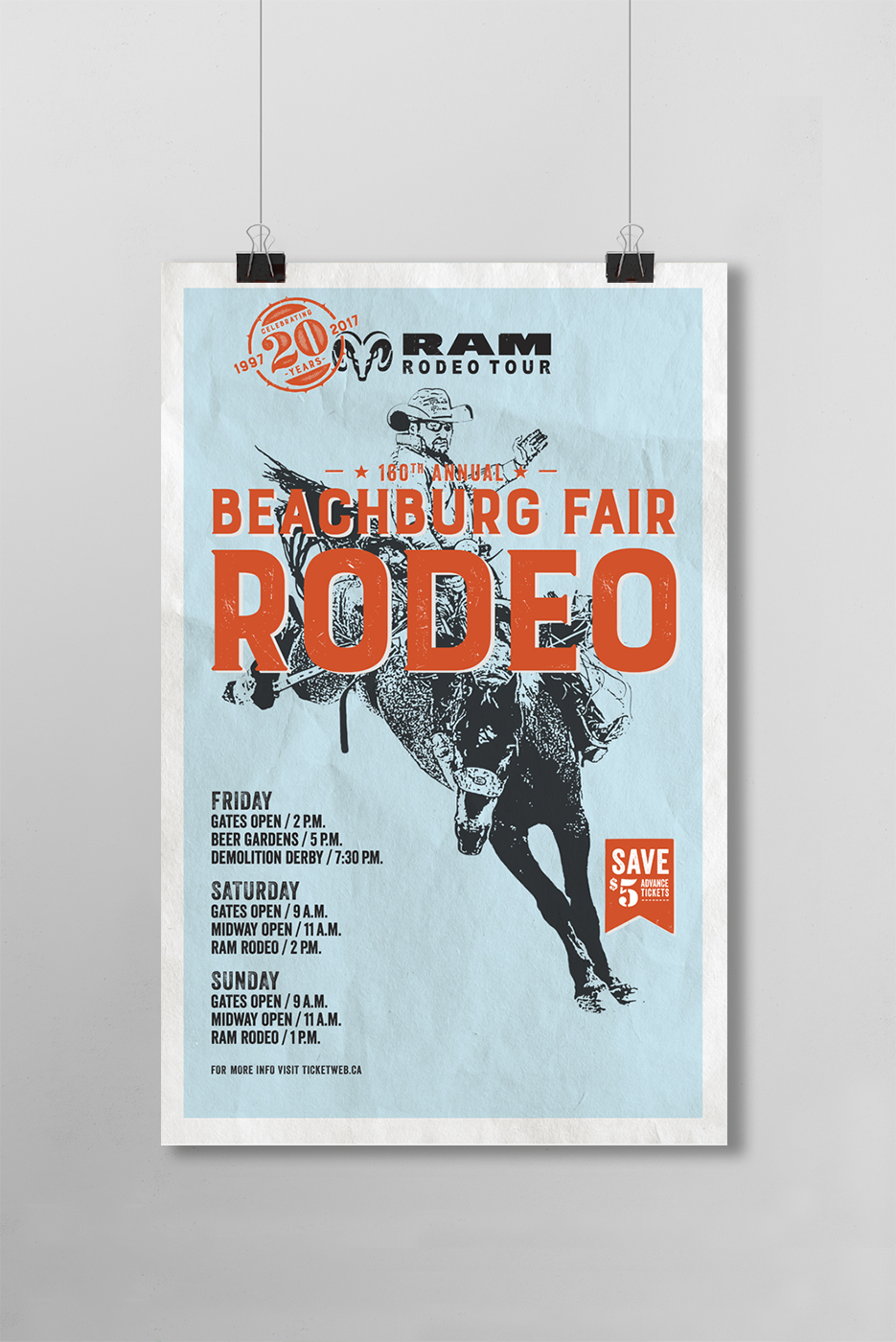 Beachburg Fair 160th Annual rodeo poster design featuring a man riding a bucking bronco.