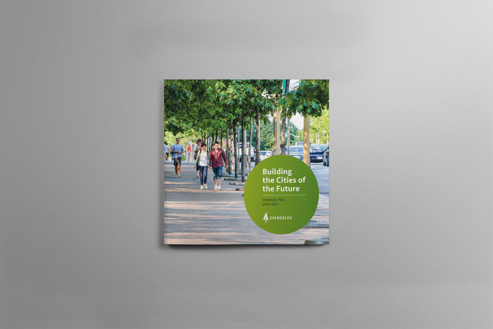 Cover for Evergreen. Building the cities of the future. Features Canadian cities.