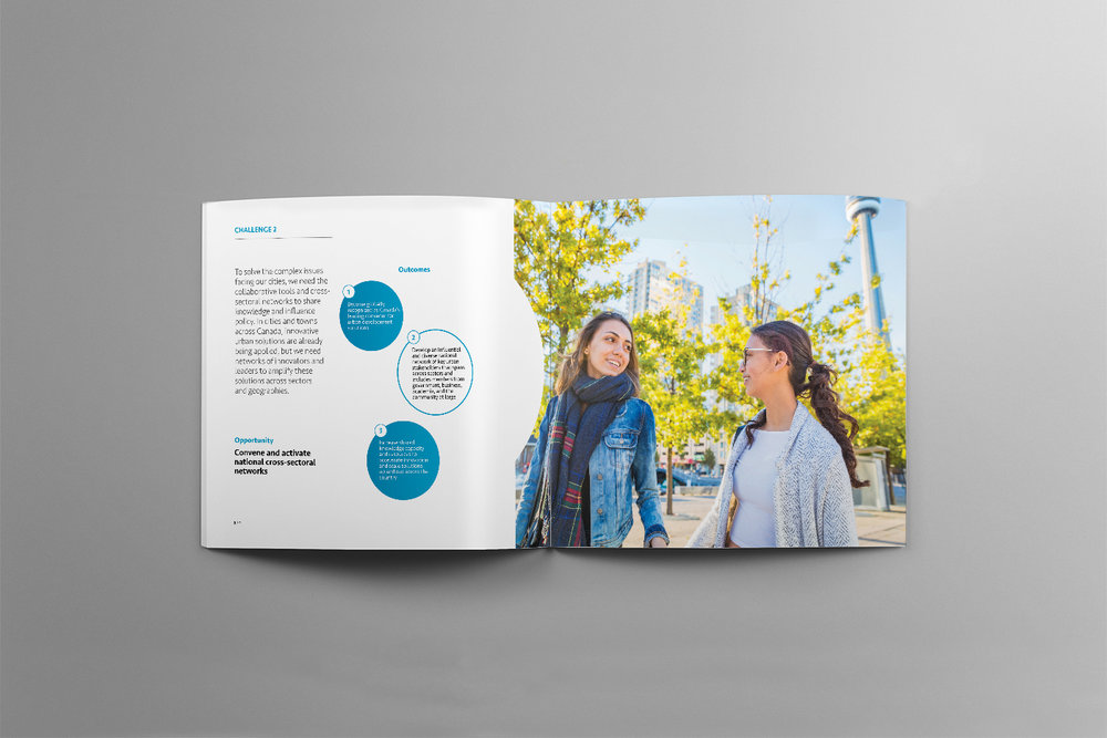 Spread for Evergreen with a lesbian couple walking within Toronto in the Spring