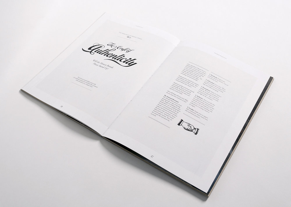 Design of a spread that features beautiful vintage photograph and a handshake illustration.