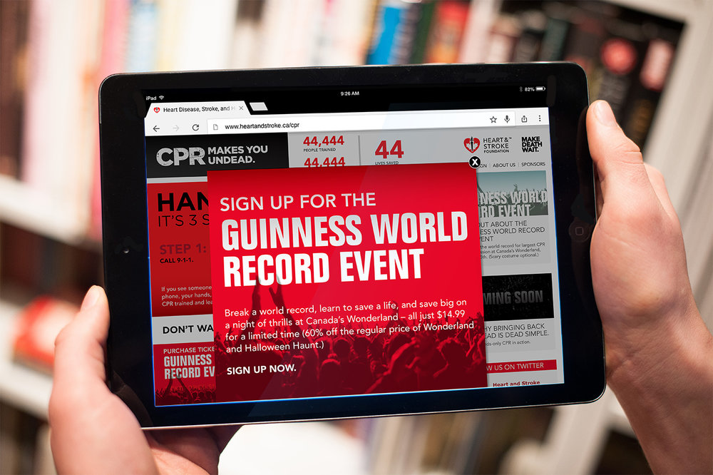 Heart & Stroke Guinness World Record Event for charity online campaign design.