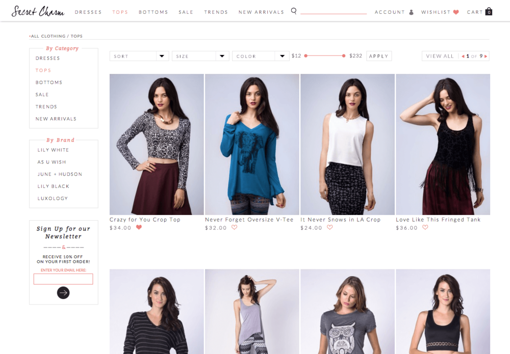 "Desktop ""All Clothing"" screen from an e-commerce site designed to allow the national, wholesale, fashion company Secret Charm to become a direct-to-consumer brand."