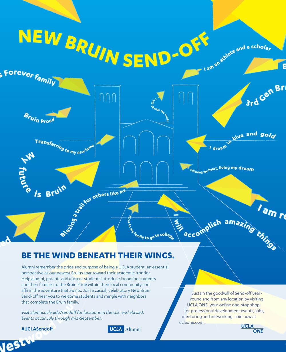 Magazine ad inviting alumni to participate in their local New Bruin Send-off, a party for incoming freshman before they leave their hometowns.