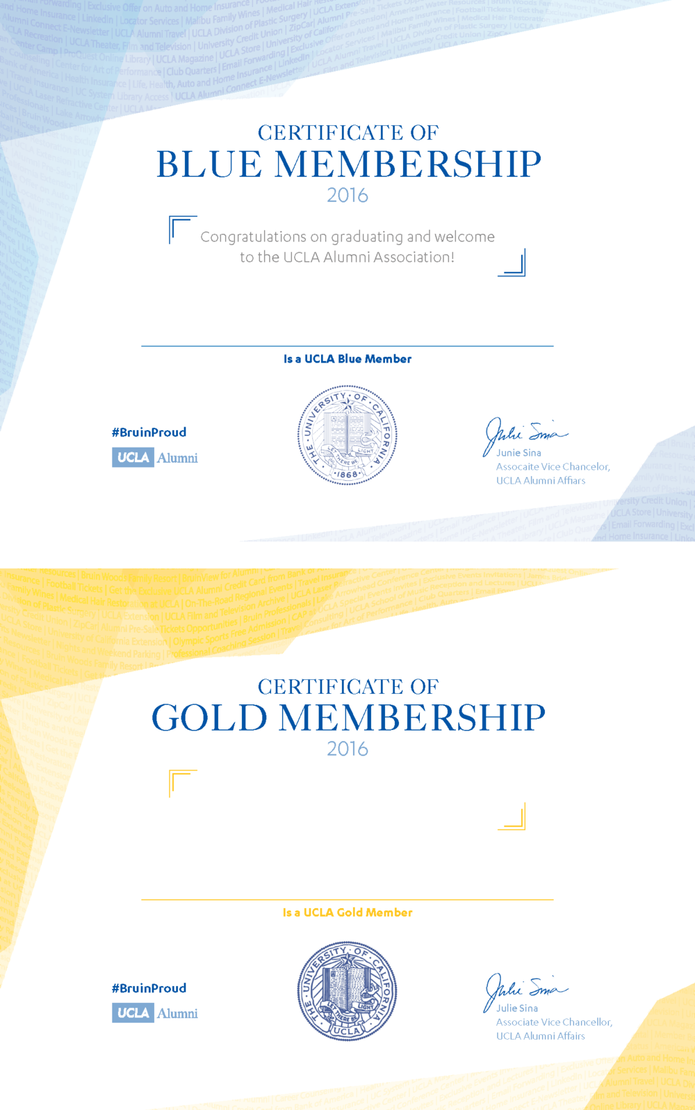 Certificates given upon purchase of UCLA Alumni memberships. The waves in the design are created using descriptions of the benefits that accompany membership.