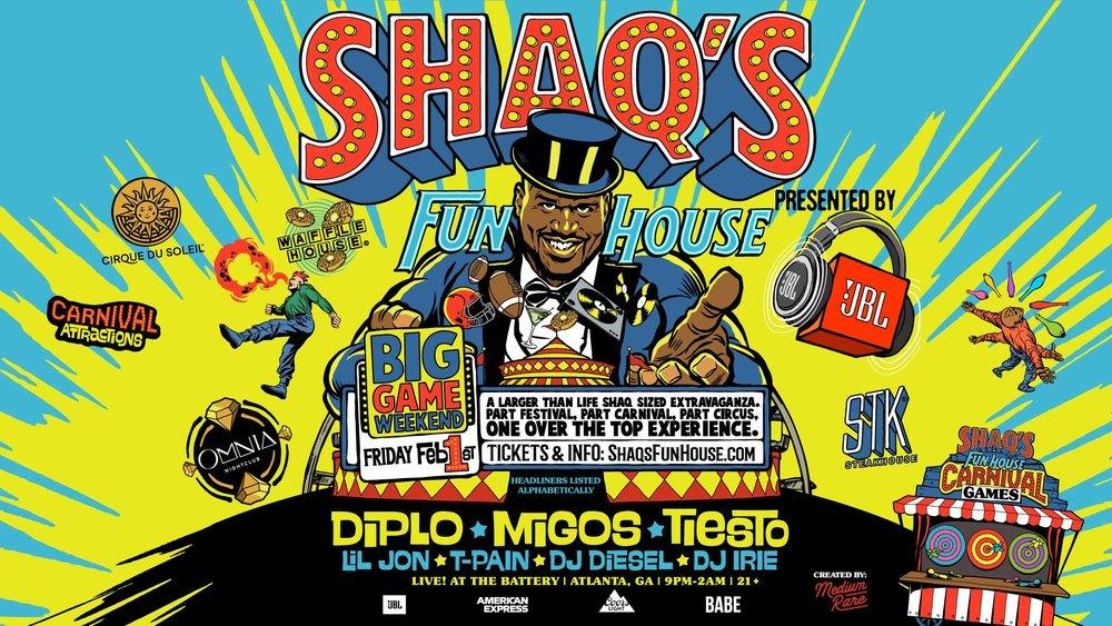 shaq's big fun house big game weekend diplo migos tiesto