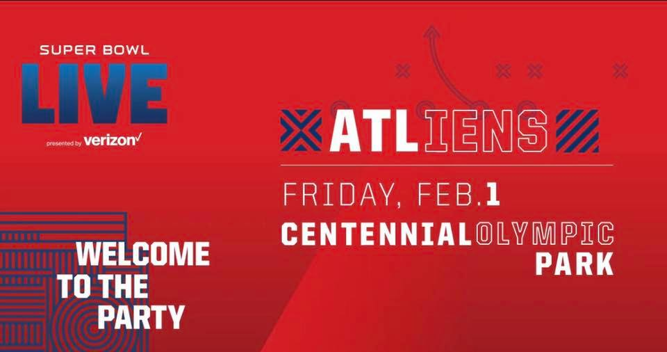 FRIDAY, FEBRUARY 1ST, 2019   DISTRICT SUPER BOWL LIVE presented by Verizon with  3 p.m.: Super Bowl LIVE Happy Hour, Seed & Feed Marching Band 5 p.m.: Leah Culver 6 p.m.: The Jacks 7 p.m.: Hearty Har 8 p.m.: HXV (Heroes X Villains) 9 p.m.: ATLiens