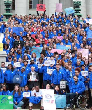 Each year AmeriCorps members kickoff the service year on the steps of the Wisconsin State Capitol.