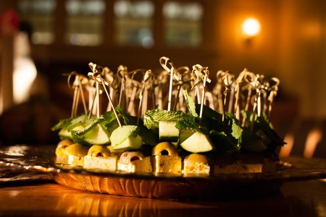 Feta cucumber mint olive skewers