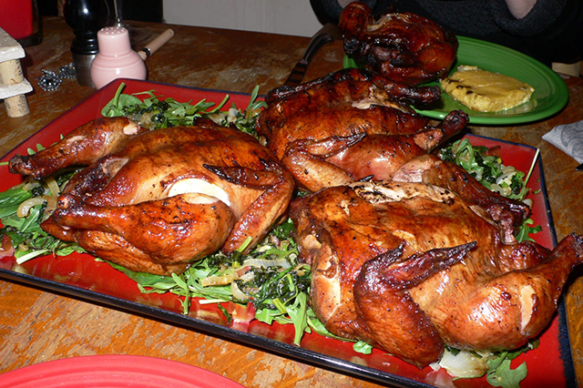 Brined and BBQ'd Cornish Game Hens