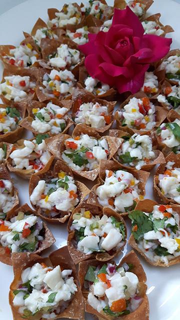 Wonton cups with halibut scallop confetti ceviche