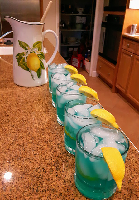 Vodka blue curacao and fresh squeezed lemonade