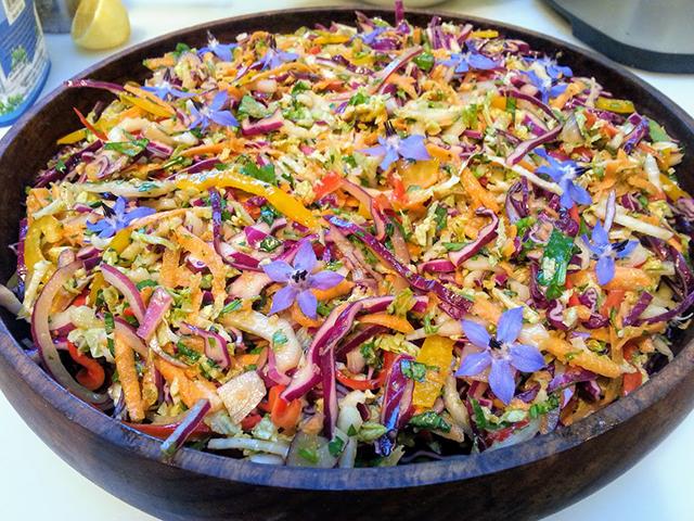 Thai three cabbage salad with fresh borage