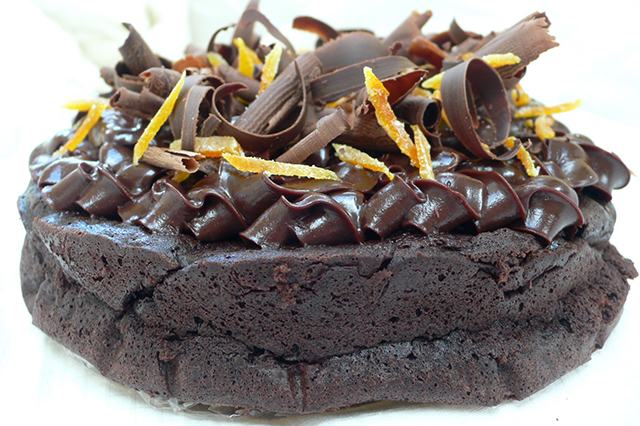 Decadent gluten free brownie cake