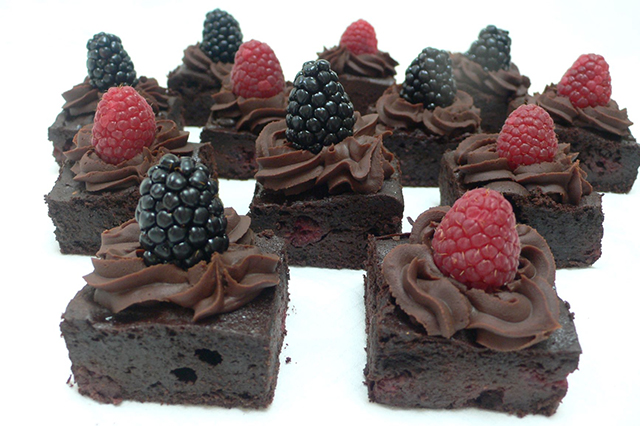 Gluten free chocolate brownie with chocolate ganache icing