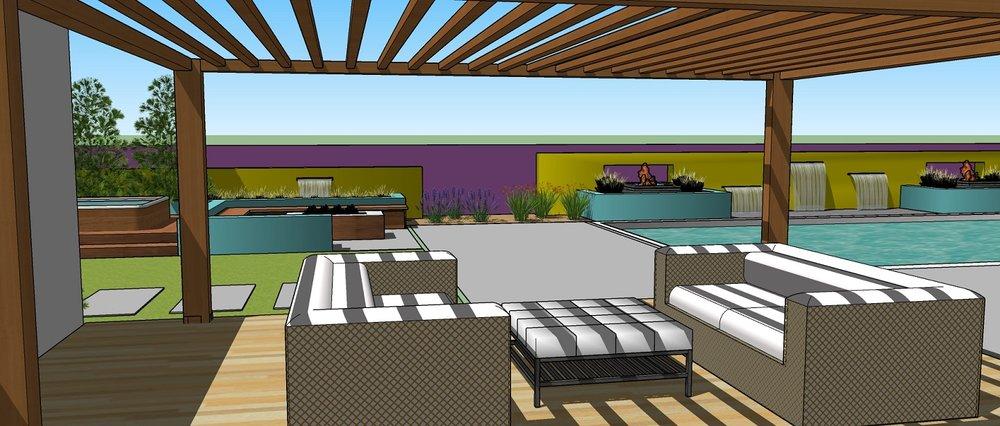 Outdoor living area with pergola in Reno, Nevada