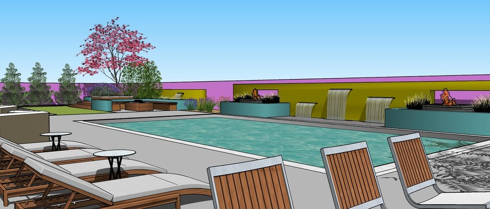 Landscape design with pool patio and spa in Reno, NV