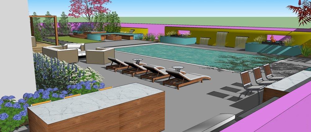 Pool patio 3D landscape design in Reno, NV