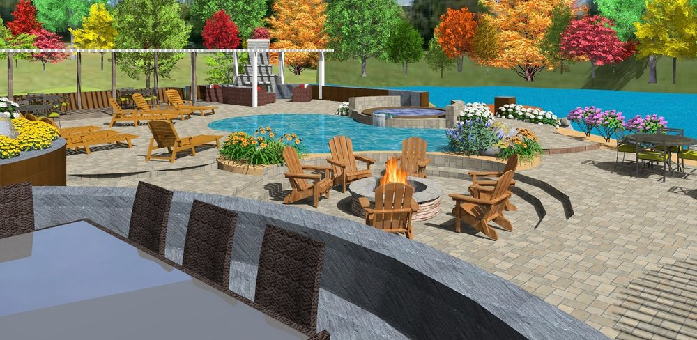 Landscape architecture with outdoor fireplace in Reno, NV