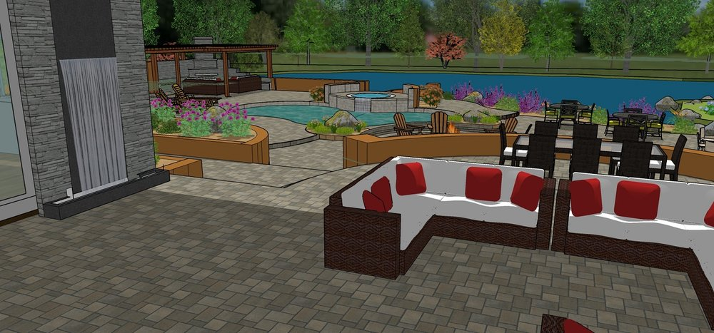 Backyard landscaping with pool and spa in Reno, NV