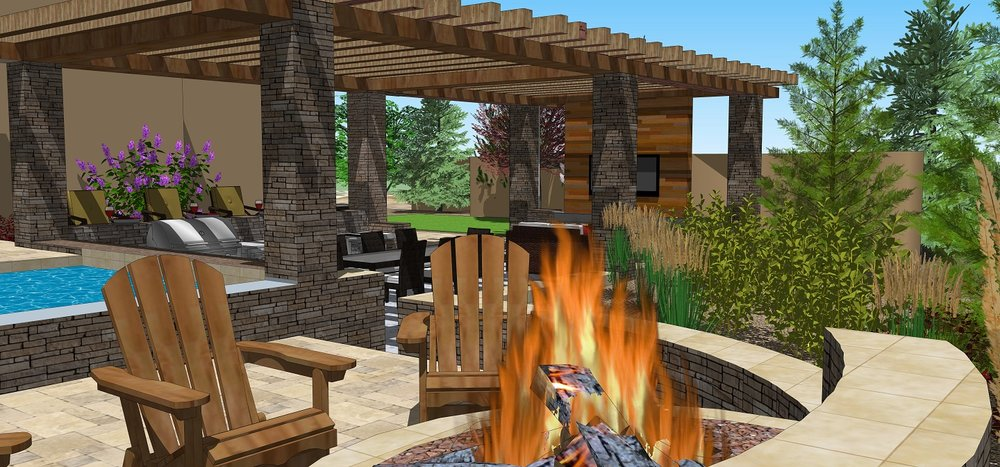 Pool designs with pergola and outdoor fireplace in Reno, NV