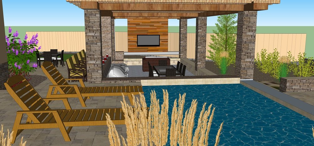 Pool designs with outdoor kitchen in Reno, NV