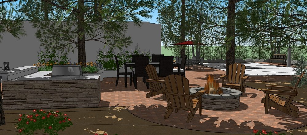 Backyard landscaping services for outdoor fireplace in Reno, NV