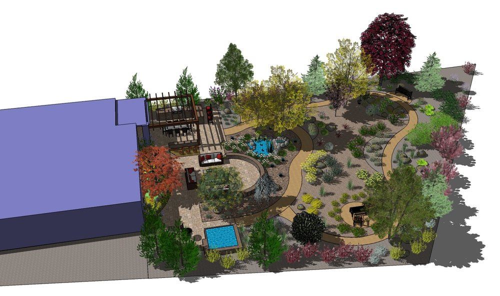Backyard design with patio and outdoor kitchen in Reno, NV