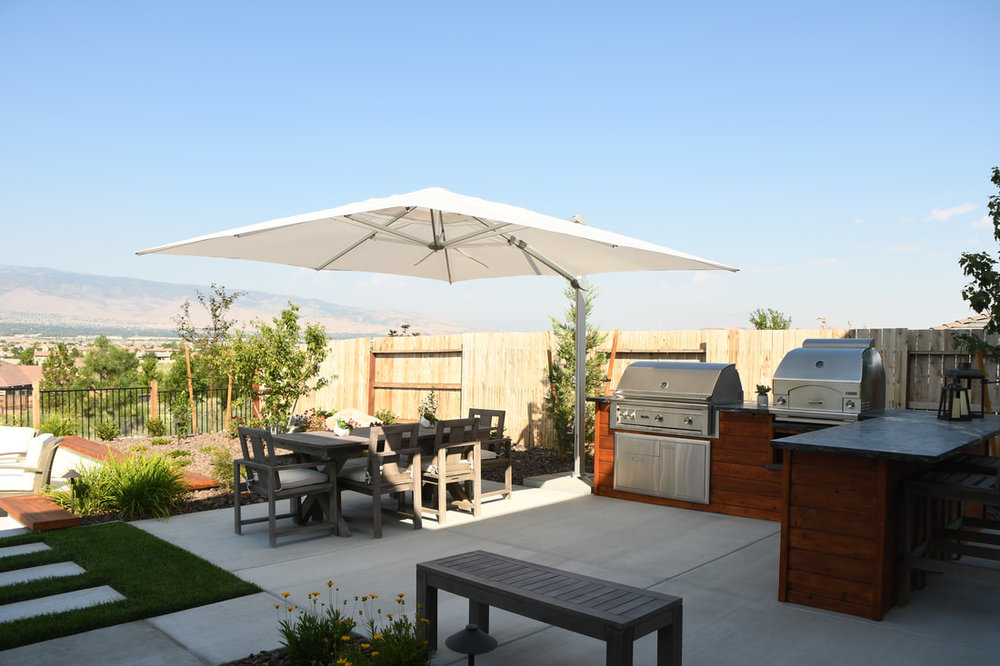 Backyard design with outdoor kitchen in Reno, NV