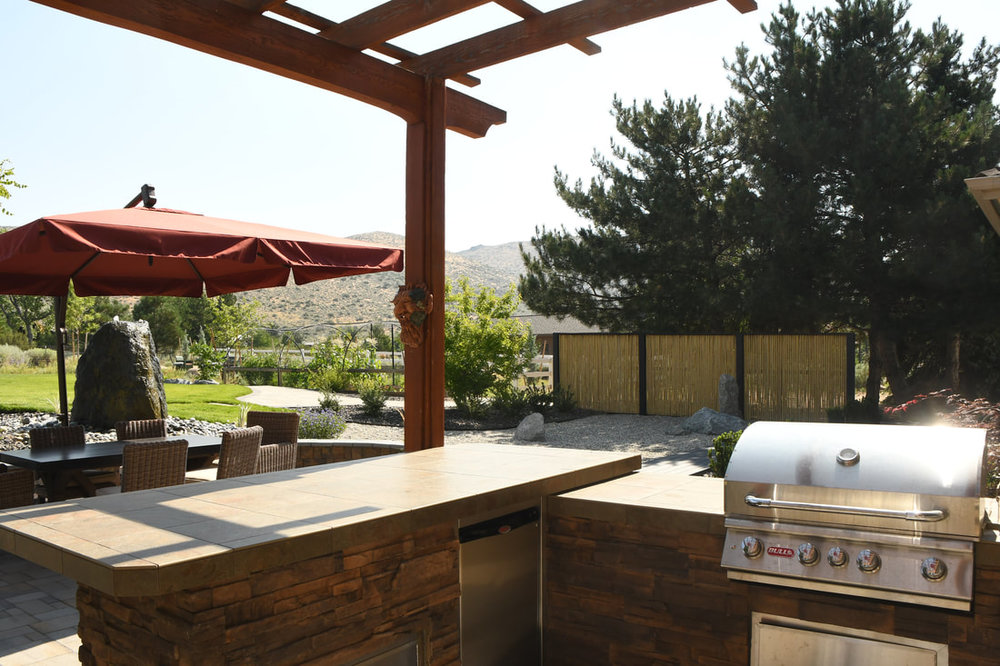 Outdoor living - pergola with outdoor kitchen in Reno, NV