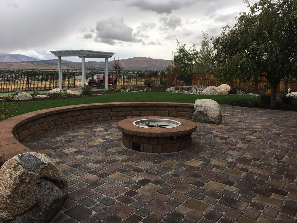 Pergola, patio pavers, outdoor fireplace in Reno, NV