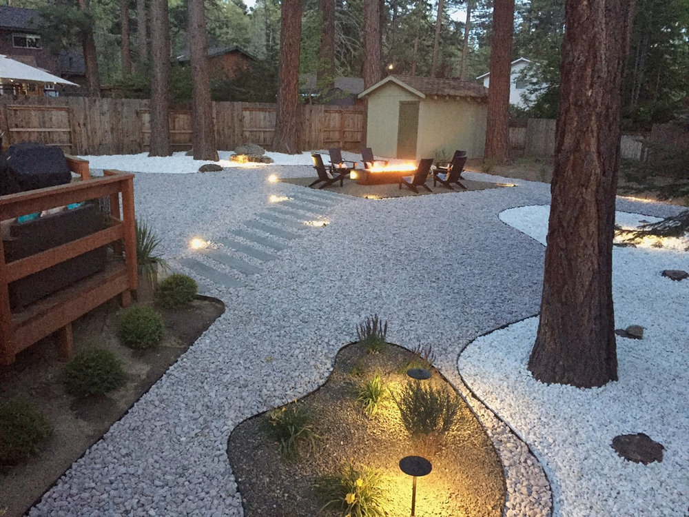 Beautiful outdoor living area with outdoor fireplace in Reno, NV