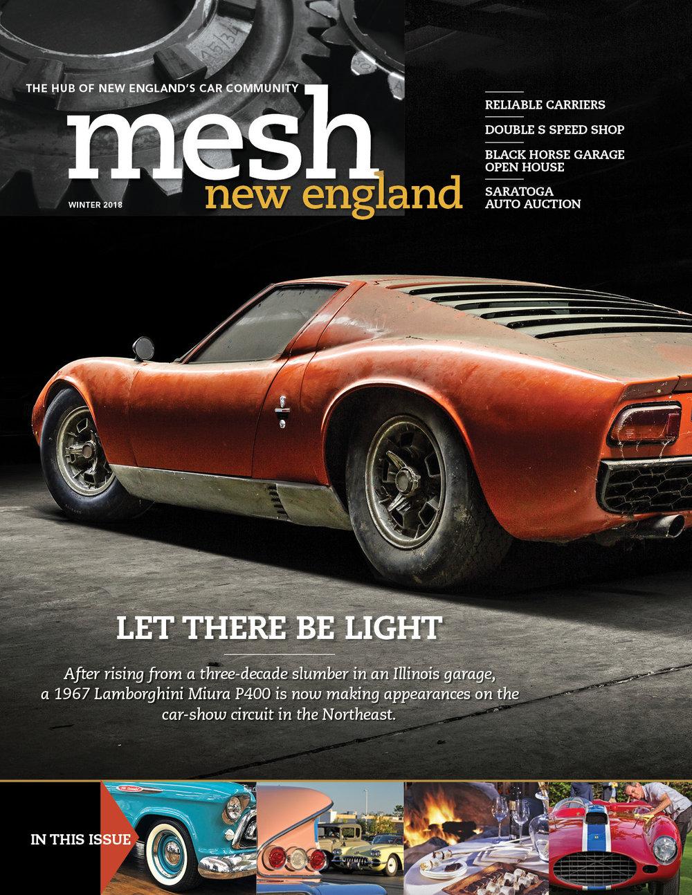 Winter 2018 Cover of Mesh New England Magazine. Red 1967 Lamborghini Miura on cover.jpg