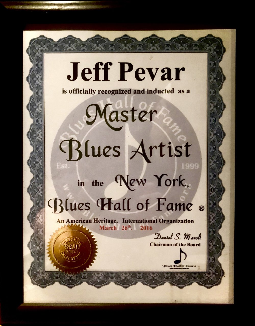 NY Blues Hall Of Fame Certificate