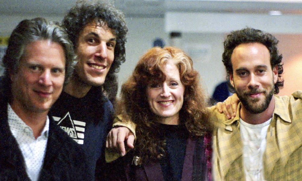 On tour 1992 w/ Marc Cohn, opening for Bonnie Raitt - L to R -Stephen Bruton, JP, Bonnie & Marc