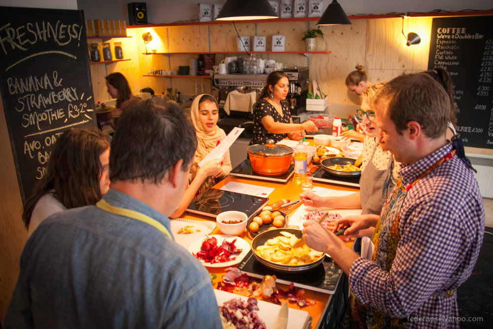 One of the Migrateful cookery classes run by refugees in London.