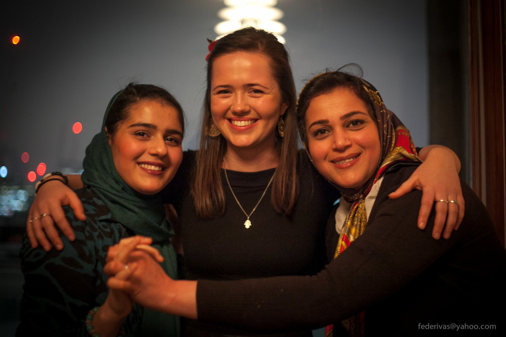 Founder Jess Thompson with Migrateful chefs Elahe and Parastoo - mother and daughter who migrated to London from Iran.