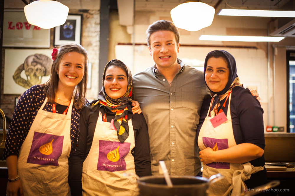 Chefs Elahe and Parastoo were the first of the Migrateful chefs to have a workshop with Jamie Oliver.