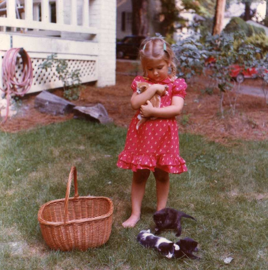 I LOVE ANIMALS! - I think it's really important that kids have pets to love and cuddle. I've always had pets and always will.That's me when I was 5 years old taking care of little kitties. —>