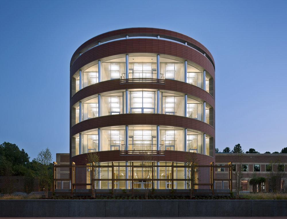North Carolina Biotechnology Center photo back view night