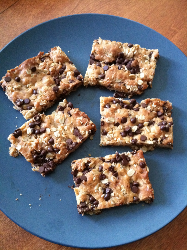 With the campers this summer I made some amazing chewy coconut chocolate blonies. However at home I needed to make them using better ingredients, gluten free, and vegan. I did not have any coconut in the house so I substituted oatmeal instead. So here are my Gluten Free Vegan Oatmeal Chocolate Chewy Blondies.