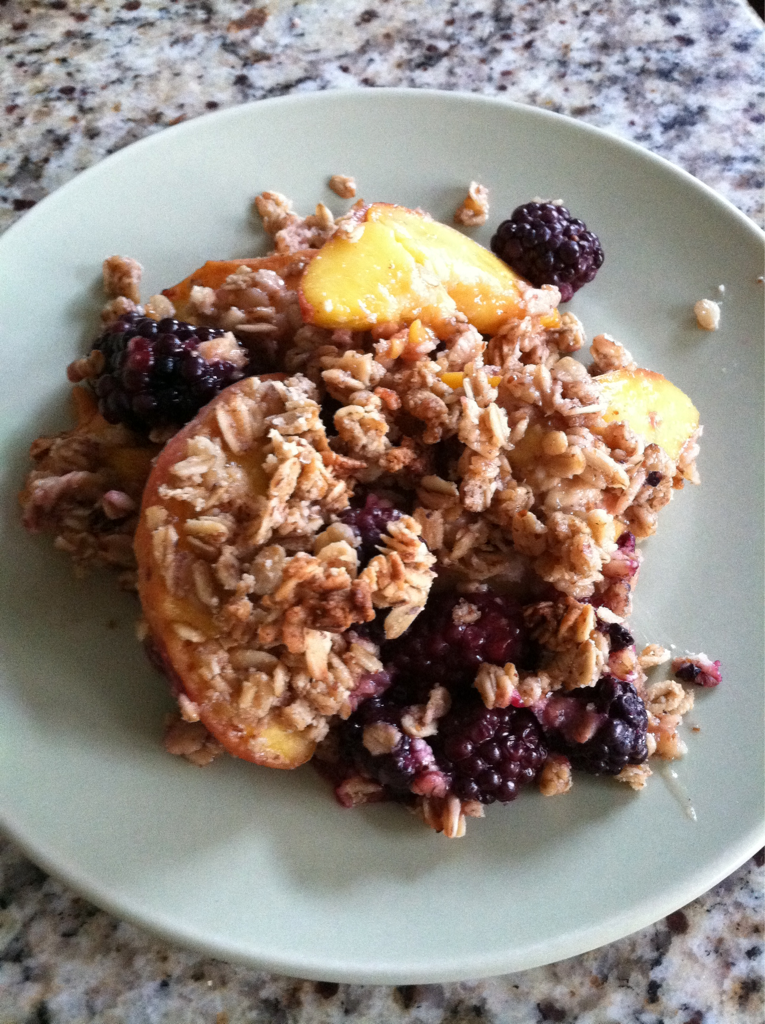 Peach and Blackberry Crumble Dessert last night was a big hit and took only 10 minutes to prep and 25 minutes to bake. I purchased these peaches from Beechwood Orchards at the Leesburg Farmer's Market on Saturday. I had been buying peaches and plums from them all summer. There peaches are super juicy and full of flavor, perfect for any recipe or just eating plain. My family and I have been eating several peaches for breakfast then enjoying them in juices or smoothies in the afternoons. Last night I decided to bake them instead. Beechwood Orchards is a truly family owned and operated orchard. It has been around for five generation in Adams County in Biglerville, PA. Currently it is being run by David and Tammy Garretson, along with their son Shawn Garretson, and daughter Melissa Allen. Now even Melissa's young daughters Isabelle and Cammy help around the orchard. Shawn can be found selling his family's wide selection and varieties of peaches, plums, berries, and apples at the Leesburg Farmer's market every Saturday. So check them out and let them know I sent you. I can truly say it is going to be worth the short trip to Leesburg. Farmer's markets are a great place to take kids to show then first hand what real food should look and taste like. It is something my kids look forward to every Saturday. They walk around, talk to the different farmers, and enjoy a breakfast of fruits fresh from the farm. Peach and Blackberry Crumble Preheat oven to 375 Coat a 9x9 pan with a little coconut oil and set aside. In a bowl mix: 4 peaches, pit removed and sliced 1 pint blackberries 1/2 maple syrup 1 tsp arrowroot starch dissolved in 2 tbsp water 1/2 sea salt In another bowl mix: 11/2 cups Gluten Free Oats (I use Bob's Redmill) 1/2 cup almond meal 1/3 cup melted coconut oil 1/2 cup maple syrup 1 tsp vanilla 1/2 sea salt Add the fruit mixture into the square baking pan. Top with the crumble mixture. Bake for 25 minutes until golden. Cool for 5 minutes then serve.