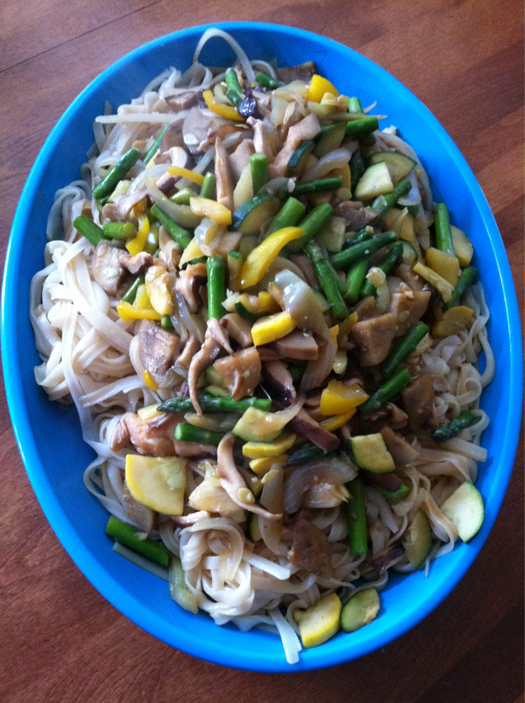 Tonight dinner is a mushroom stir-fry over rice noodles. We got some beautiful mushrooms from the farmer's market over the weekend along with some squash, eggplant, and purple peppers. Stir-fry is simple, quick to make, and a great way to get your veggies. How fast is it you ask? I was able to get it on the table within 20 minutes. That's faster then ordering takeout!