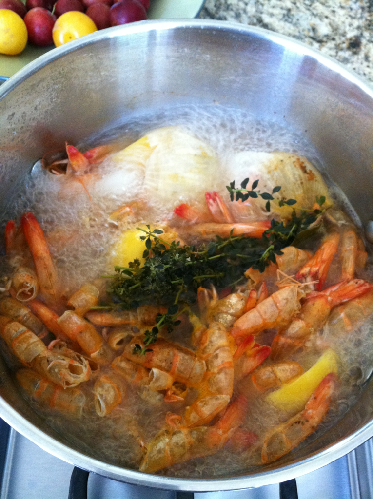 Yummy shrimp stock that will give my gumbo the rich flavor it will need.