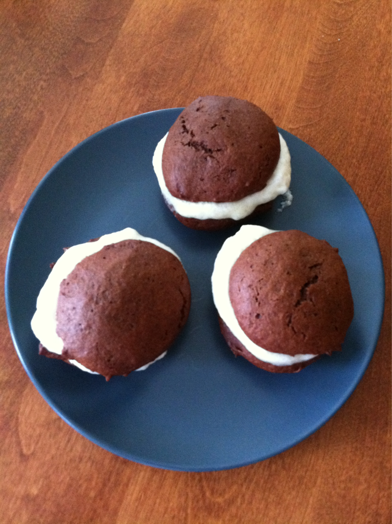 "Gluten Free Vegan Chocolate Whoopie Pie Trying out another recipe from my ""Babycakes, Covers the Classics"" Gluten Free Vegan baking book. I think this will end up being a nice treat after dinner for my family."