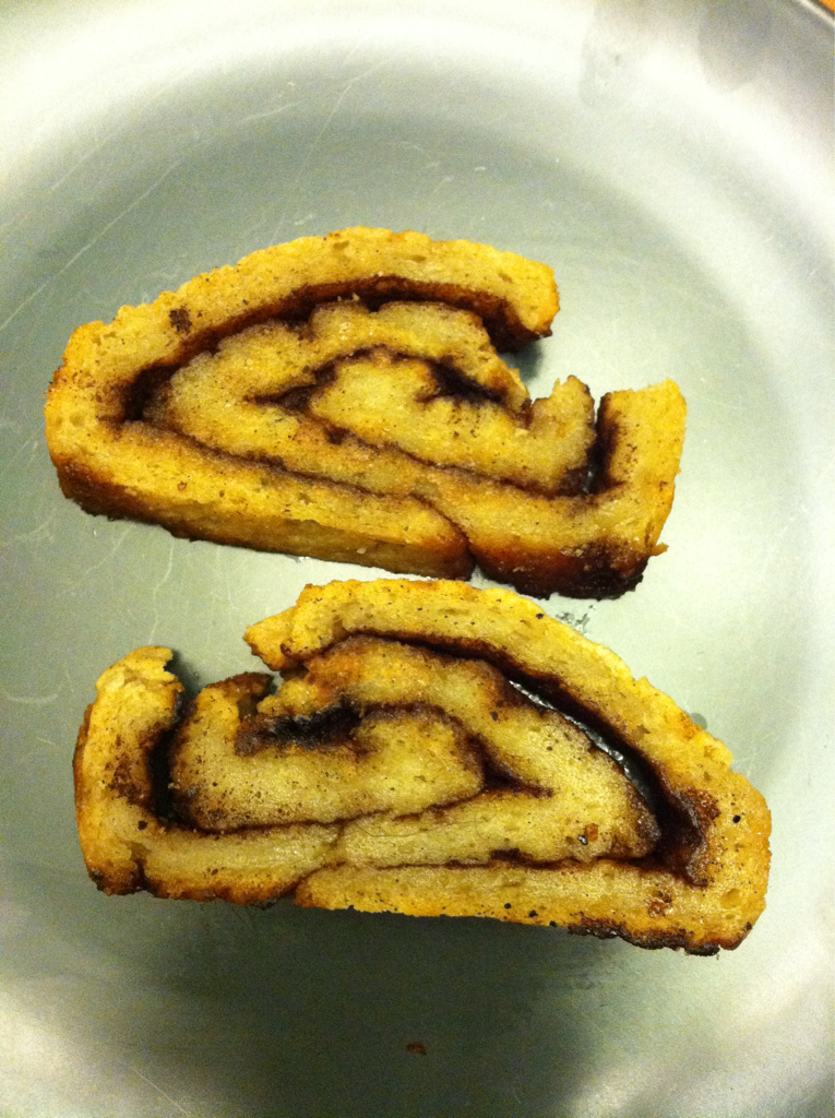 I had a total craving for cinnamon bread. I went on a mission for this chewy cinnamon sweet bread. Spent time in the middle of the afternoon figuring out a recipe to meet my cravings. Here is a picture of my gluten free vegan cinnamon bread. I toasted on a frying pan with a bit of coconut oil to make it nice and warm. The recipe isn't perfect but it sure hit the spot!