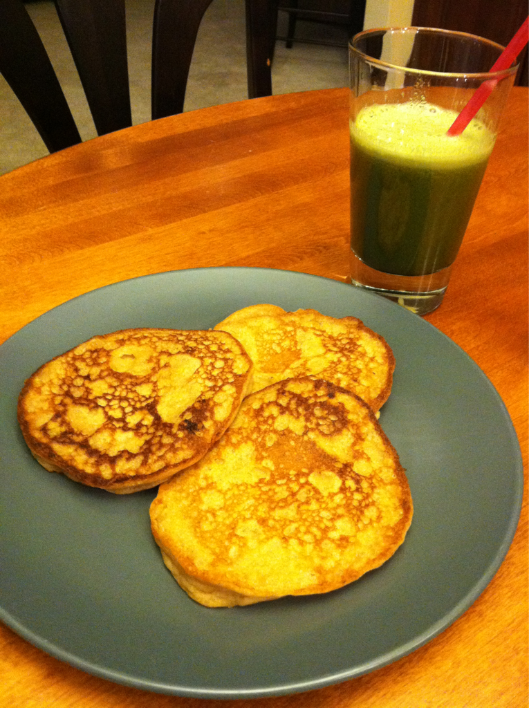 """Gluten Free Vegan Peanut Butter Banana Pancakes Sometimes the days gets ahead of you and you find yourself in a panic to feed yourself and your family. Well last night things were a bit crazy in our house. As I picked my daughter up from ballet at 6:30pm she asked the dreaded question. What's for dinner? Well it sent me into panic mode! I didn't know. Now normally I have dinner planned or at least an idea of what I am going to serve especially this close to dinner. But last night this was not the case. I told my daughter that I absolutely had no idea. In response my wonderfully helpful Zoe replies """"how about breakfast for dinner?"""" Now breakfast for dinner is something we used to do often because it was quick, easy to make, tasty, and satisfied everyone in the family. We always served pancakes, bacon, and eggs. It was a great treat. But in recent years this was not so great of a treat because of the food allergies and our family's dedication to health and healing. However I had no choice because afterall I couldn't let my kids and family starve. I had to think quickly. We make gluten free vegan pancakes on the weekends for breakfast all the time. But for dinner I wanted something alittle filling and nutritionally better. To add to all this my daughter has recently decided to vegan not just dairy, egg, and gluten free. So I needed to really step up my game by providing the nutrition growing children need while still satisfying the taste buds. Plus feeding a husband who needs to feed his hunger. So when I got home I whipped up these yummo gluten free vegan peanut butter banana pancakes. They were fluffy and tasty. I served it with a big glass of green juice made with romaine, dandelion greens, apple, and pear. I do this sometimes in place of a salad or veggies at mealtime. Dinner worked out great because everyone was satisfied and I still felt like I did a great job of feeding my family a nutritious meal."""
